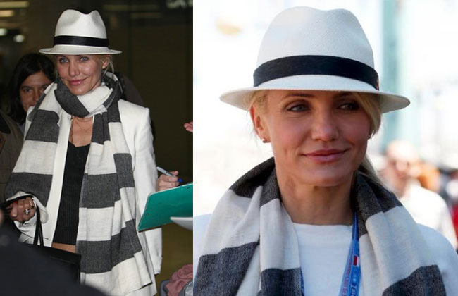 30c699e1eb4a7 Cameron Diaz looking every inch the movie star while walking through the  airport in a panama hat. Pictures found via Via Daily Mail and Panama  Hatters