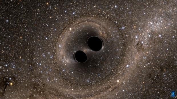 A simulation of two black holes colliding. Photo: LIGO