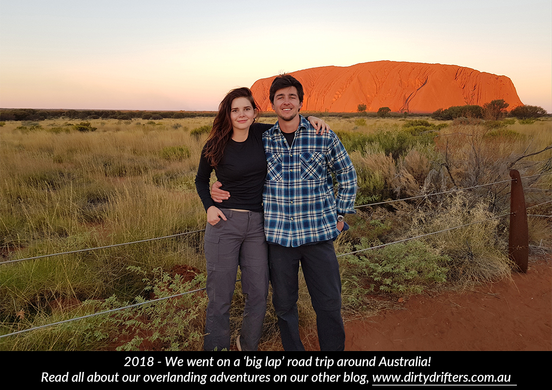 Adam and Tahnee in front of Uluru, Alice Springs